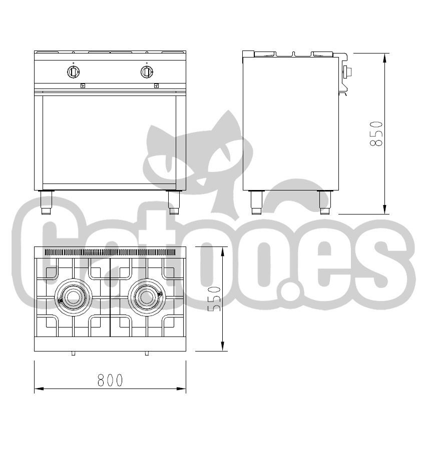 Medidas De La Cocina De Gas Profesional De 2 Fuegos KS22. Con Mueble
