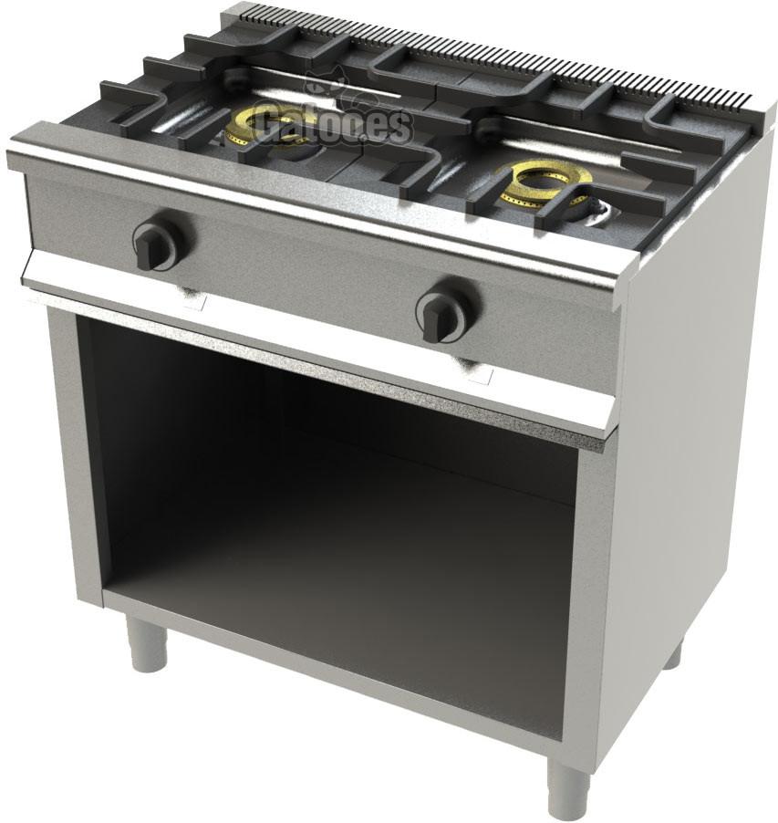 Cocina de Gas Profesional de 2 Fuegos KS22. Con Mueble | Gatoo