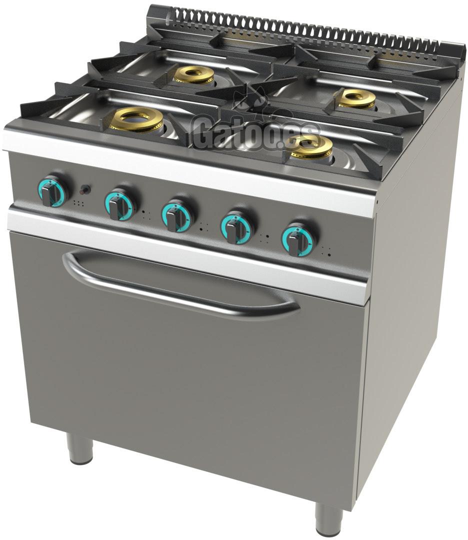 Cocina De Gas Profesional De 4 Fuegos Ksh24 Con Horno Gatoo