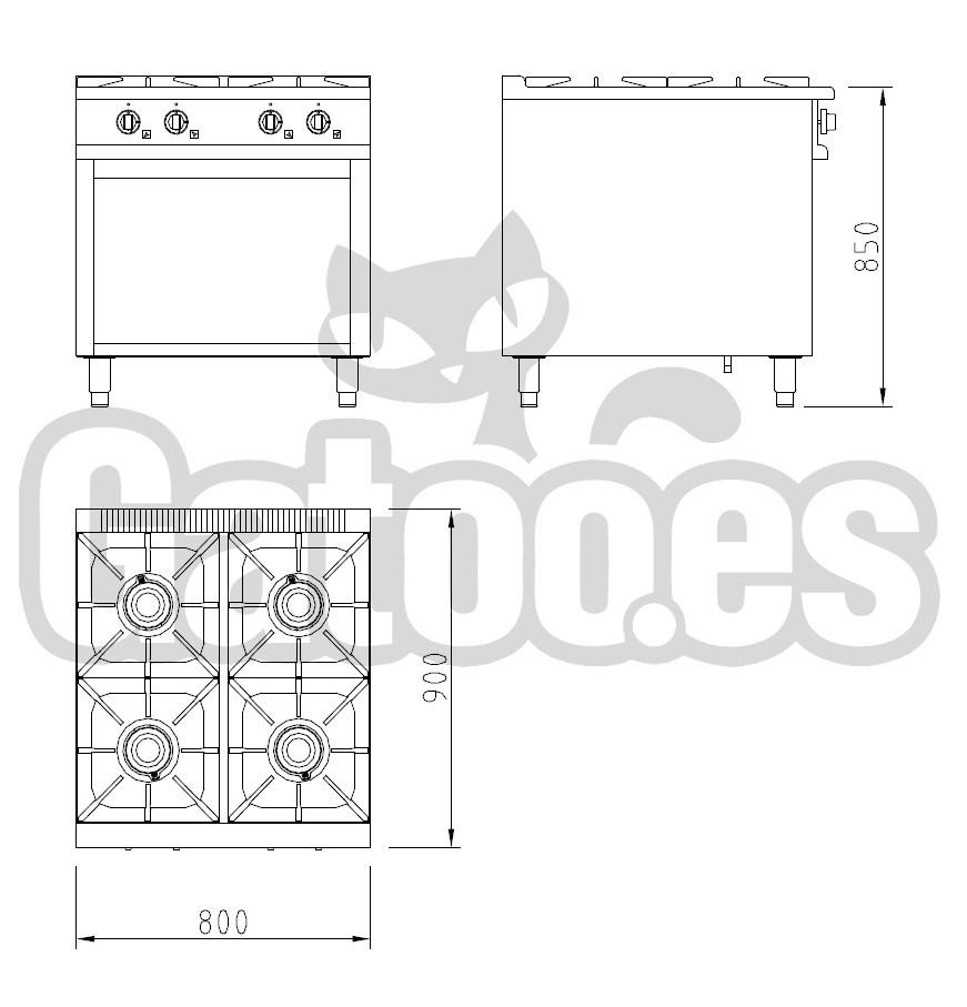 55bdcfca4e8 Medidas de la Cocina de Gas Profesional de 4 Fuegos KS24. Con mueble