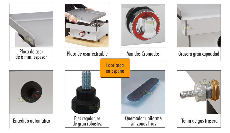 Plancha a gas profesional de 40 cm gatoo for Cocina gas profesional