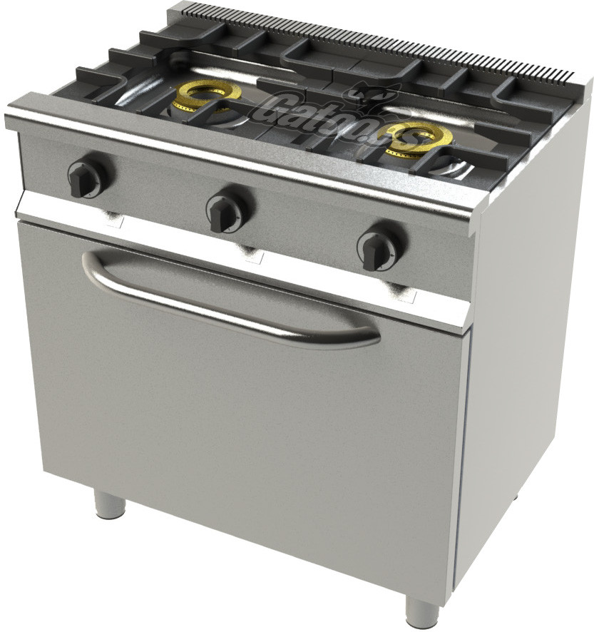 Cocina de Gas Profesional de 2 Fuegos KSH22. Con Horno