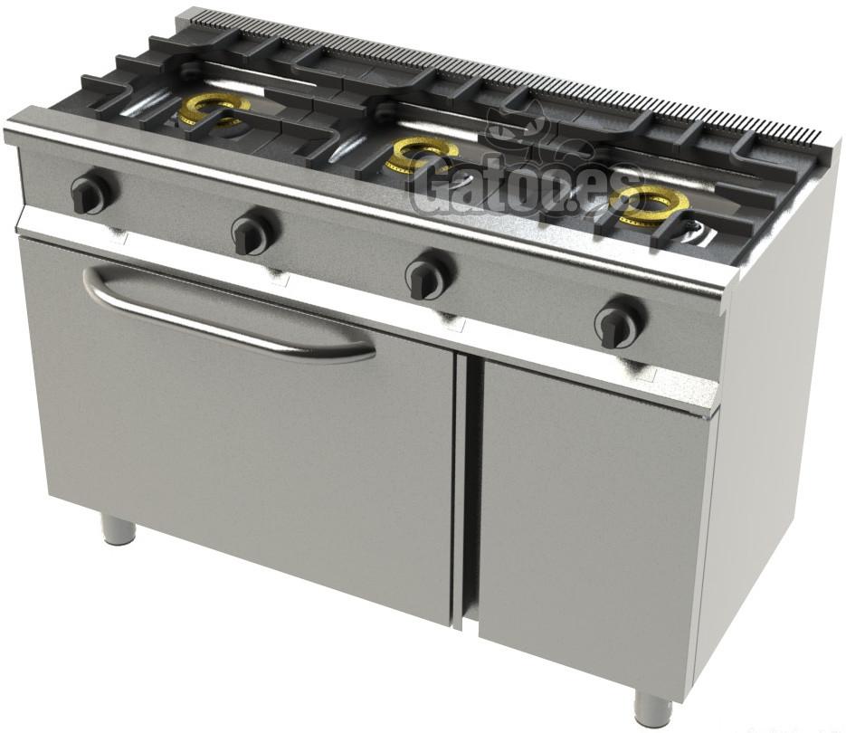 Cocina de Gas Profesional de 3 Fuegos KSH23. Con Horno