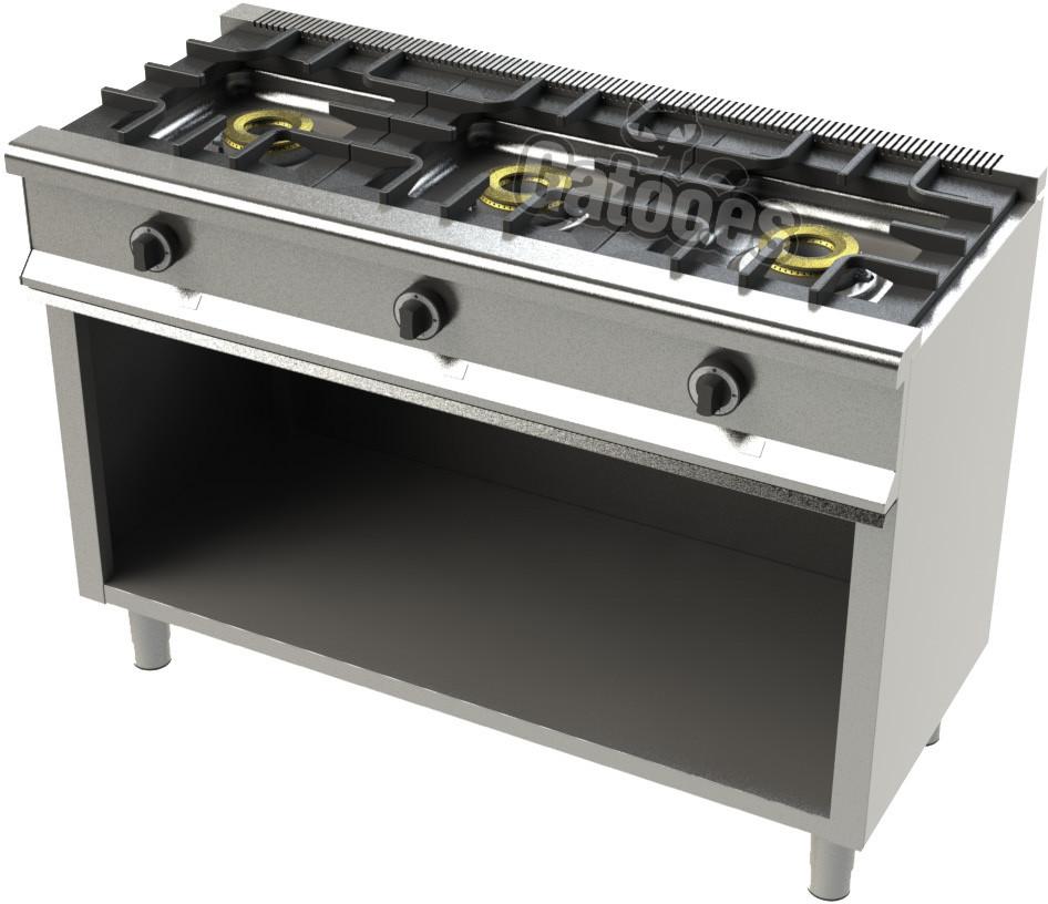 Cocina de Gas Profesional de 3 Fuegos KS23. Con mueble