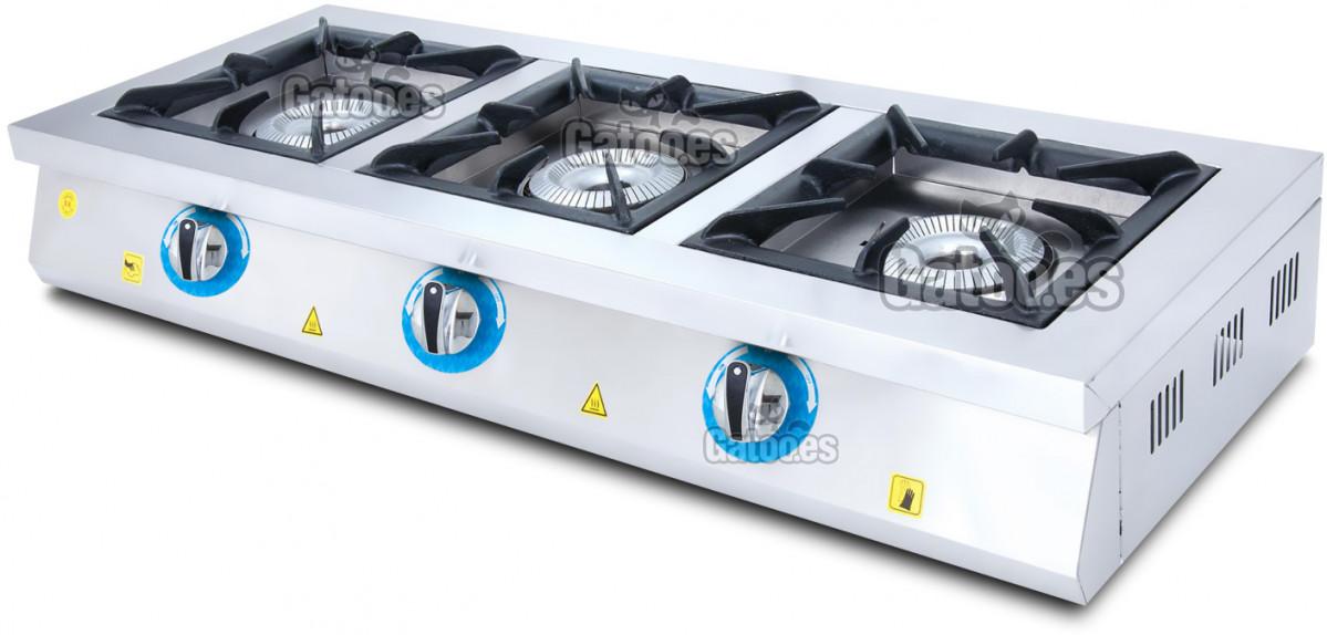 Cocina de Gas Industrial de 3 Fuegos GM3