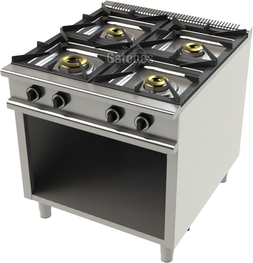 Cocina de Gas Profesional de 4 Fuegos KS24. Con mueble