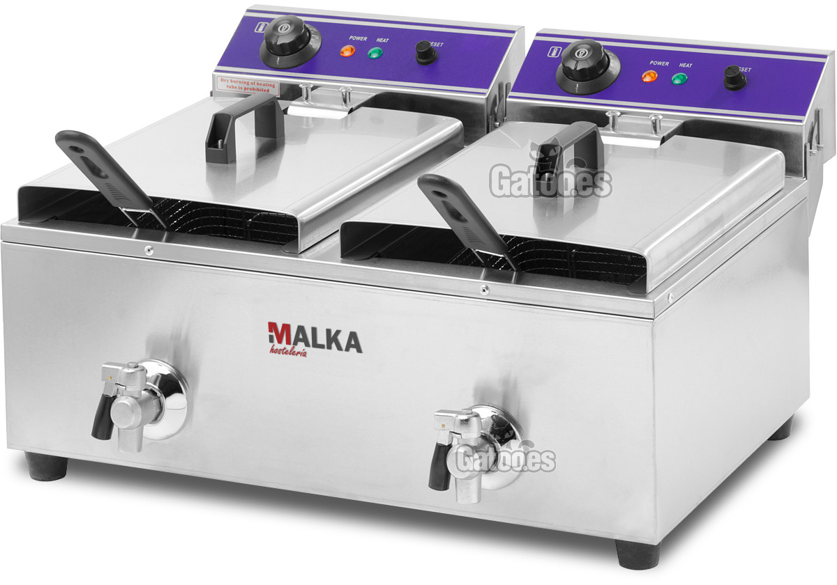 Freidora Profesional doble cesta de 20 litros (10+10) Malka (OUTLET Reacondicionado)