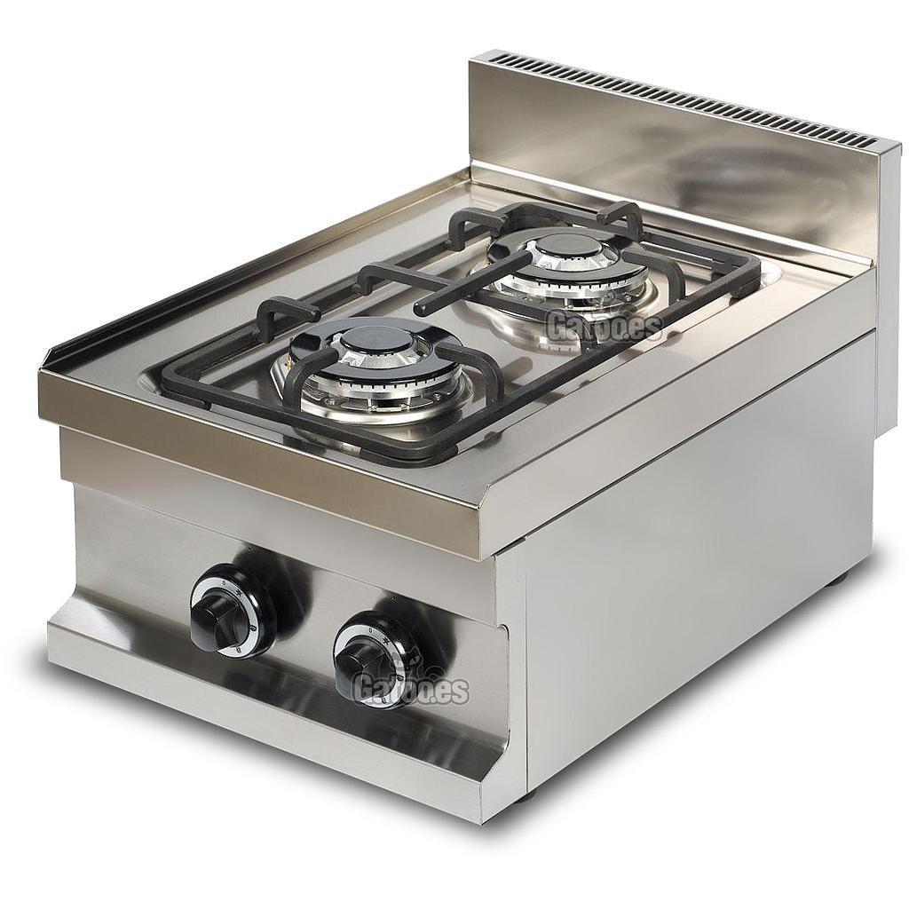 Cocina de gas de 2 fuegos profesional gatoo for Cocina de gas profesional